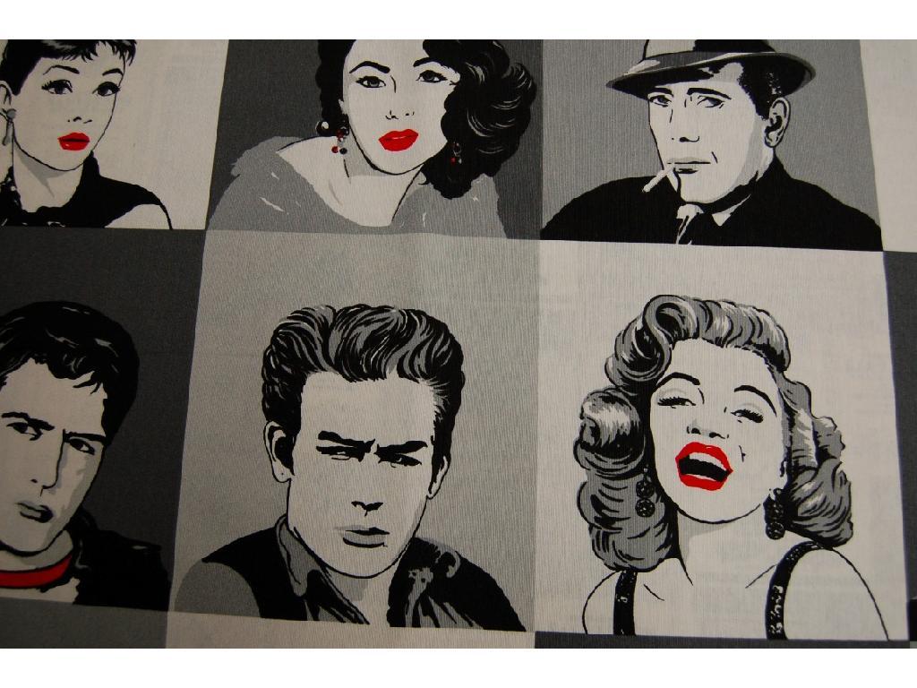 Tessuto stampato disegno Marilyn Monroe e attori