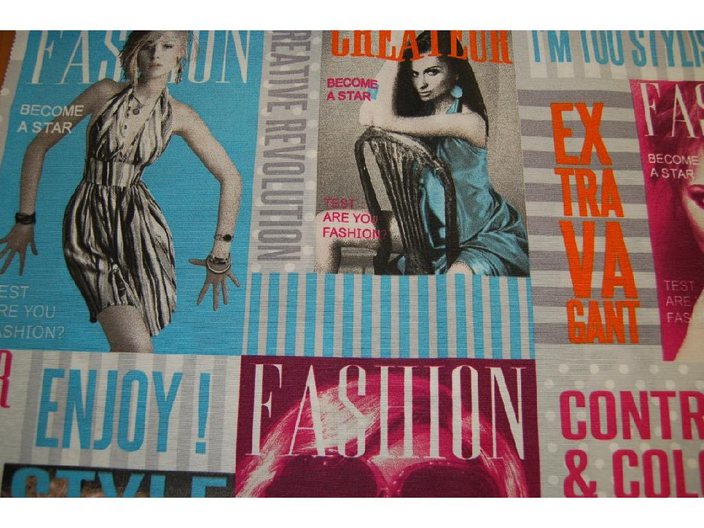 Tessuto stampato disegno copertina riviste moda